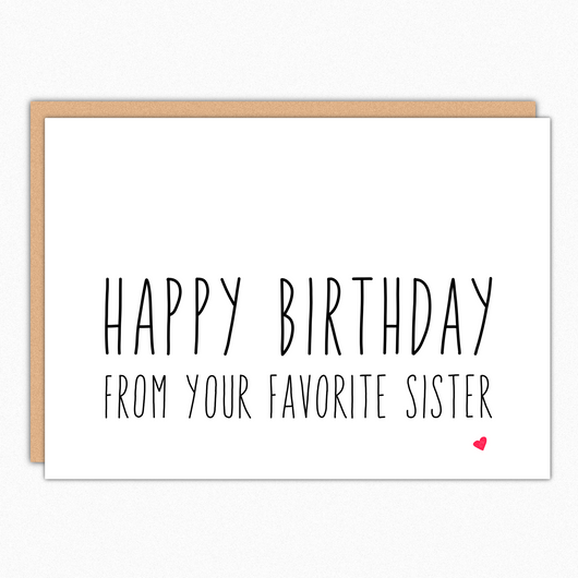 Brother Birthday Card Sister Birthday Card From Your Favorite