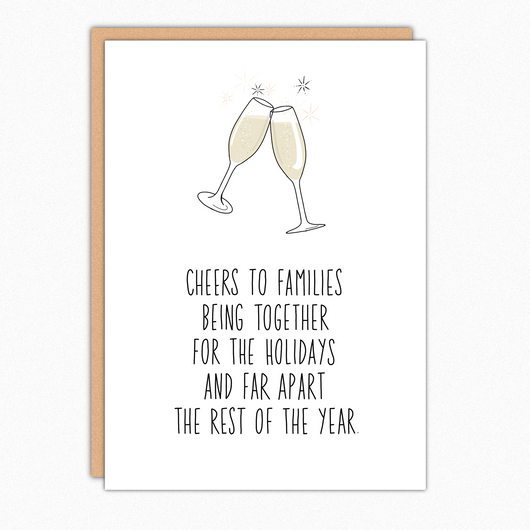 Funny Christmas Card For Family Member Brother Sister Cousin Parents Cheers to families