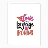 funny boyfriend card girlfriend card naughty i love you card love language is boning nutshell cards