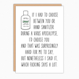 Funny Love Card. I Love You Card. Missing You. Anniversary Card For Him Her Boyfriend Girlfriend Husband or Wife. Social Distancing Card. Virus Apocalypse Card.