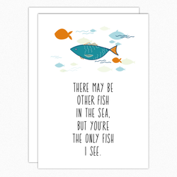 Love Card. Anniversary Card. Romantic Card. Card For Fisherman. Only Fish