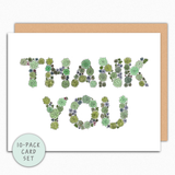 Succulent Thank You Card Set. Plant Lover Thank You Cards. 10-Pack of cards All Same Design. Appreciation Cards. Succulent Cards