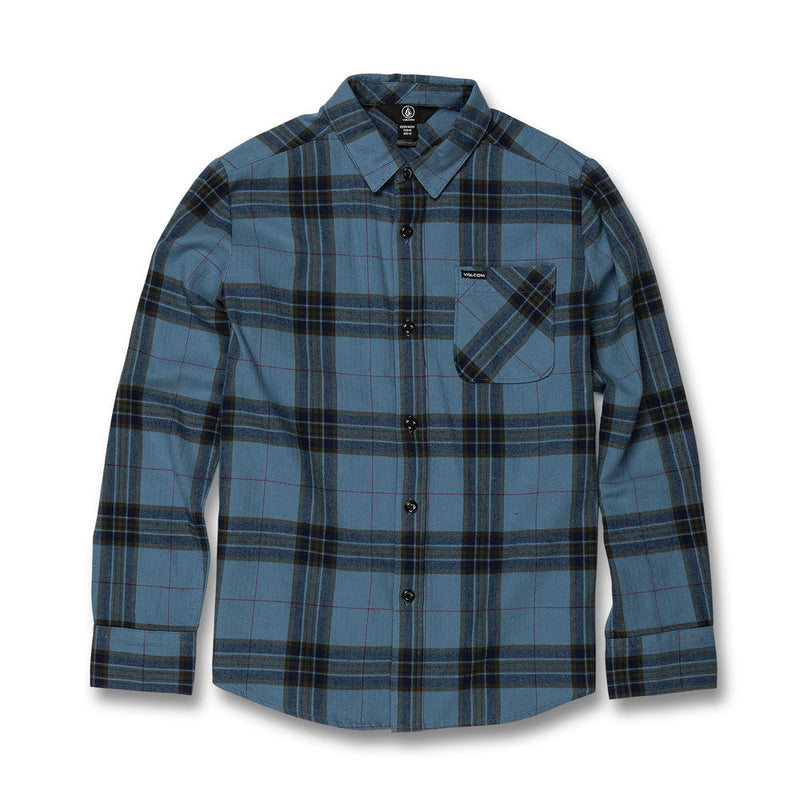 VOLCOM YOUTH CADEN PLAID L/S SHIRT BLUE RINSE