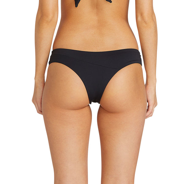 VOLCOM WOMEN SIMPLY SEAM CHEEKY BIKINI BOTTOM BLACK