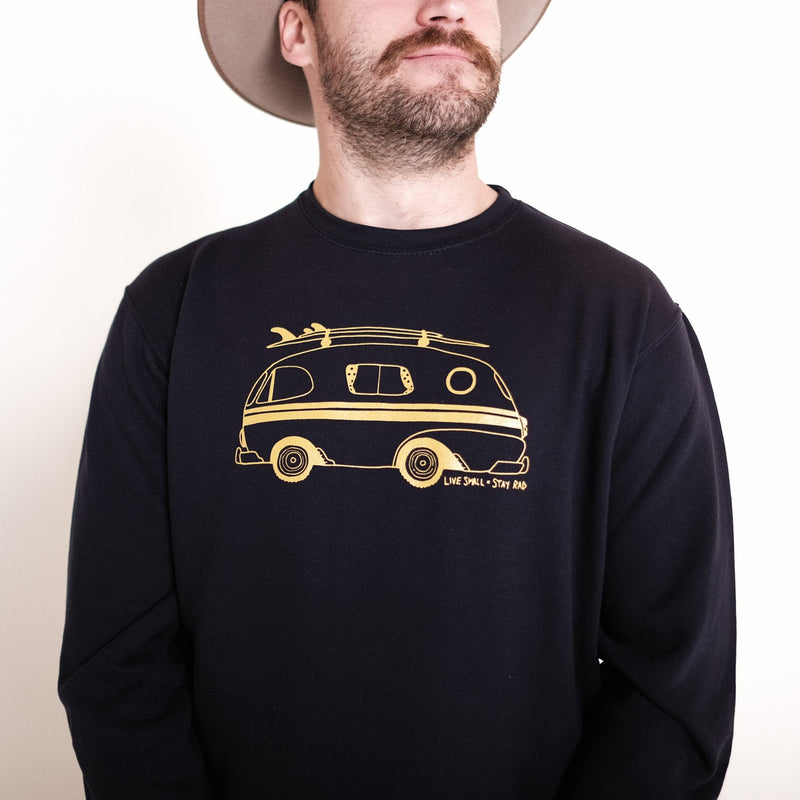GO-VAN LIVE SMALL X STAY RAD CREW NECK - NAVY