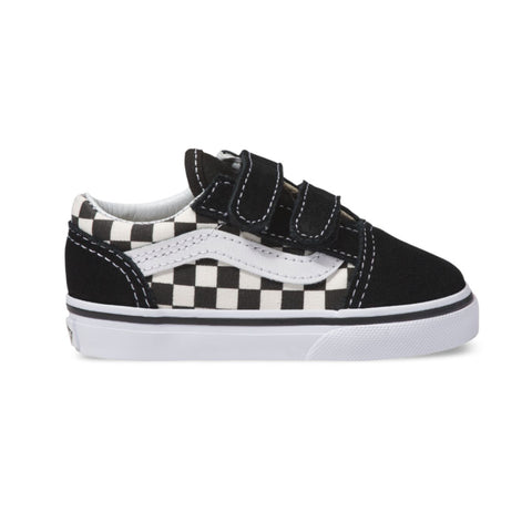 VANS TODDLERS OLD SKOOL V PRIMARY CHECK SHOES BLACK / WHITE