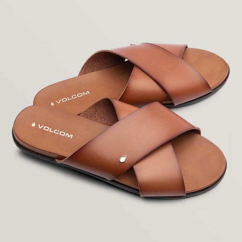 VOLCOM WOMENS DOUBLE CROSS SANDALS COGNAC