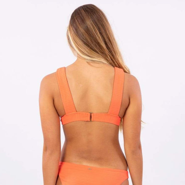 RIP CURL WOMENS PREMIUM SURF DEEP V BIKINI TOP HOT CORAL