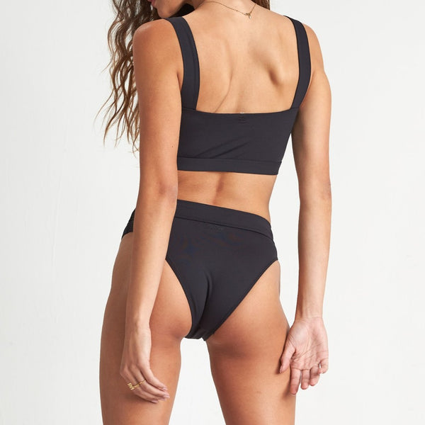 BILLABONG SOL SEARCHER MAUI RIDER BIKINI BOTTOM BLACK PEBBLE