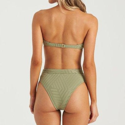 Billabong Peeky Days Rise Bikini Bottom Earth Green
