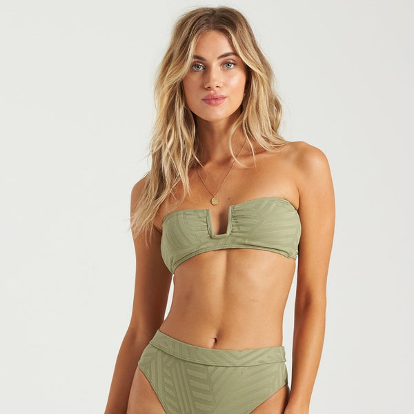 Billabong Peeky Days Square Wire Bikini Top Earth Green