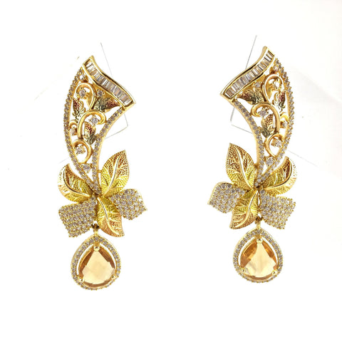 Designer Floral Earrings With Stones