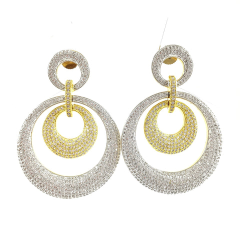 Classy Big Golden And Silver Ring Danglers