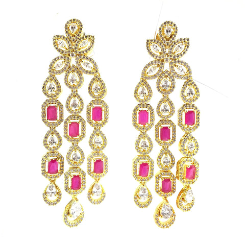 Long Golden Danglers With Pink Stones