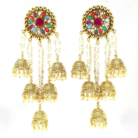 Beautiful Navratna Long Jhumka