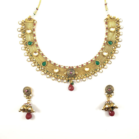 Polki gold plated Multi Stone necklace