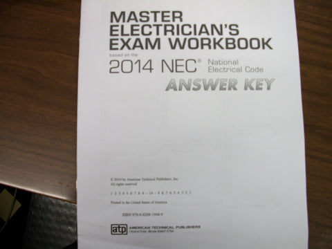 Master Electrician's Exam Workbook 2014 NEC Answer Key