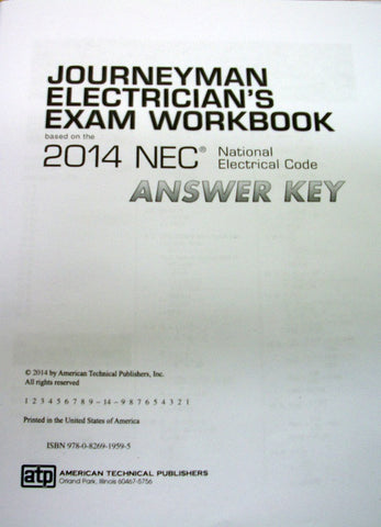 Journeyman Electrician's Exam Workbook based on the 2014 NEC National Electric Code Answer Key