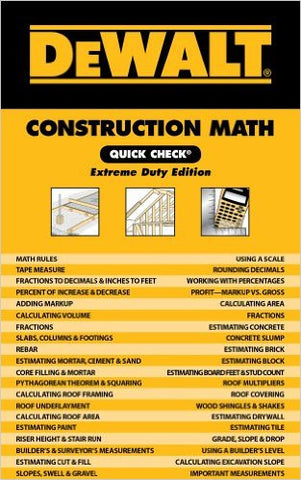 DEWALT Construction Math Quick Check: Extreme Duty Edition, 1st Edition