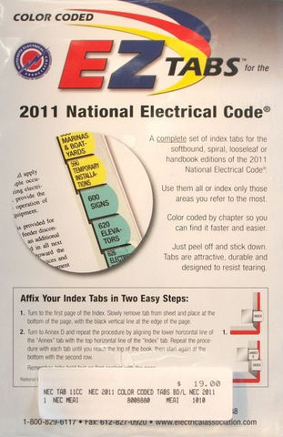 2011 NATIONAL ELECTRICAL CODE INDEX TABS