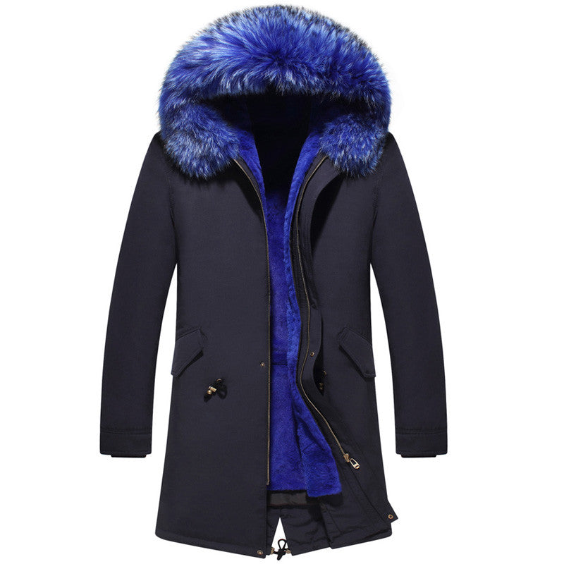 Parka Jacket With Blue Fur Hood