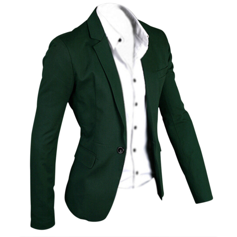 2297b658b38a Notched Lapel One Button Closure Casual Blazer for Men – CLiQoasis