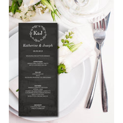 Black and White with Floral Wreath Wedding Menu Card - E02B