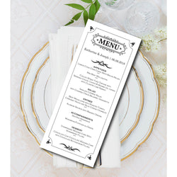 Black and White Kraft Paper Wedding Menu Card - E04A
