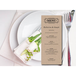 Kraft Paper Wedding Menu Card - E05A