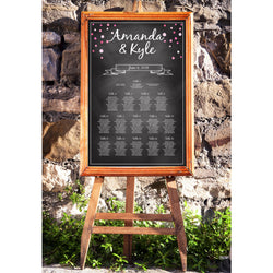 Chalkboard with Pink Dots Wedding Seating Chart - E10B