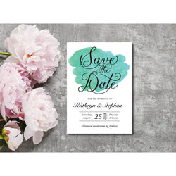 Green Watercolor Save The Date Invitation - E113A