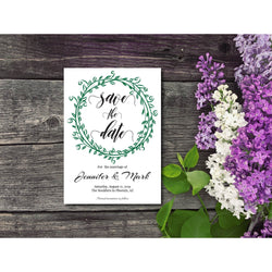 Save The Date Invitation with Green Leaf Wreath DYI Template Editable PDF