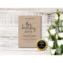 The Best Night Ever Save The Date Card Kraft Paper DIY Template Editable PDF