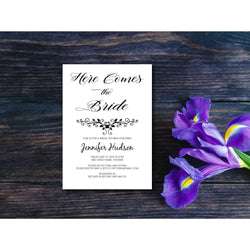 Bridal Shower Invitation Print on Kaft Paper for a Rustic Look- E132A