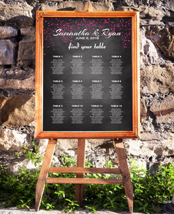 Chalkboard with Pink Confetti Wedding Seating Chart - E139A