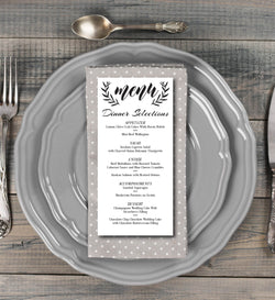 Black and White Laurel Wreath Kraft Paper Wedding Menu Card - E140A