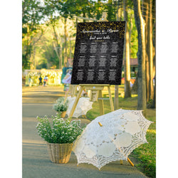 Black Floral with Gold Confetti Wedding Seating Chart - E15A