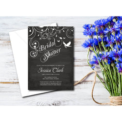Chalkboard Floral with Doves Bridal Shower Invitation - E19A