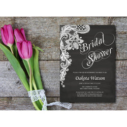 Chalkboard with Lace Bridal Shower Invitation - E21A