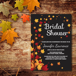 Black Background with Fall Leaves Bridal Shower Invitation - E41A