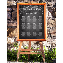 Chalkboard with Silver Confetti Wedding Seating Chart - E46A