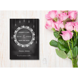 Chalkboard with Mason Jars Save The Date Invitation - E51A