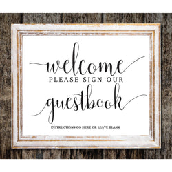 Plain White Welcome Sign Kraft Paper DYI Template Editable PDF