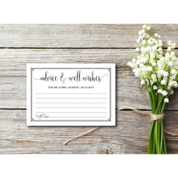 Black & White with Border, Kraft Paper Advice & Well Wishes - E75D