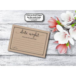 Black & White with Border, Kraft Paper Date Night - E75H