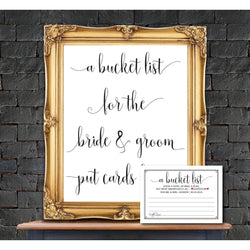 Bucket List Sign and Advice Card Black Border Kraft Paper DYI Template Editable PDF