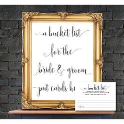 Bucket List Sign and Advice Card Kraft Paper Bucket List Card DYI Template Editable PDF