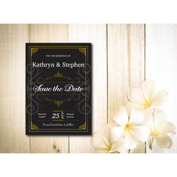 Black with Gold Border, Floral Save The Date Invitation - E82A
