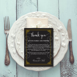 Black with Gold Border Thank You Card DYI Template Editable PDF