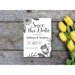 Rustic Floral Save The Date Invitation - E92A